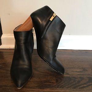 Black YSL Ankle Booties with Wood Heel